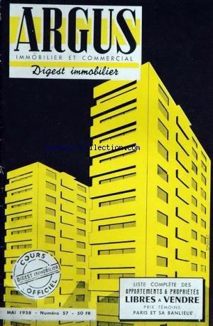 ARGUS IMMOBILIER COMMERCIAL [No 57] du 01/05/1958 par COLLECTIF