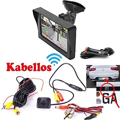 Rückfahrkamera für Hinten inkl. Autoscheibe Monitor - Bis zu 5 Jahre Garantie. Drahtlose, Kabellose Funk Verbindung für KFZ PKW Auto, Kleiner Bus, Transporter - Rear View Camera Kamera