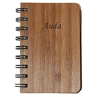 Wood hardcover Spiral Bound Notebook. Engraved Name: Auda (First Name/Surname/Nickname)