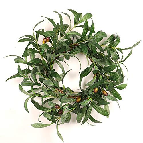 NQXXN Künstlicher Olivenkranz, Green Olive Leaf Thanksgiving Kranz für Haustür Wand Fenster Party Dekor, Indoor/Outdoor Einsatz (18 Zoll)