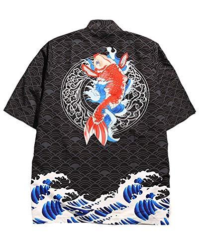 ZhuiKunA Hombres Camisa Japonés Cardigan Yukata Estilo