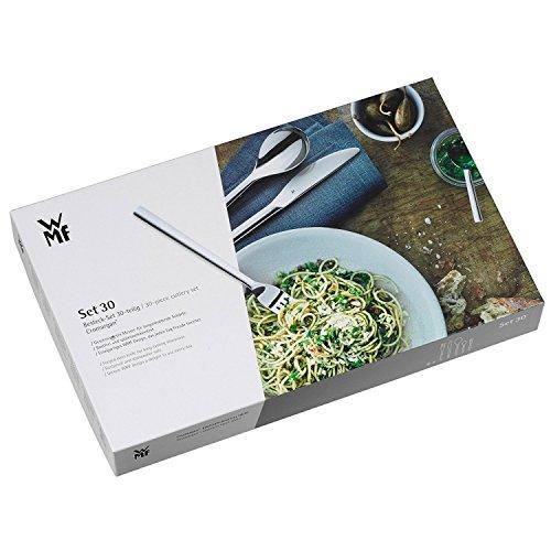 WMF Palma Besteckset, 30-teilig, für 6 Personen, Monobloc-Messer, Cromargan Edelstahl poliert, spülmaschinengeeignet