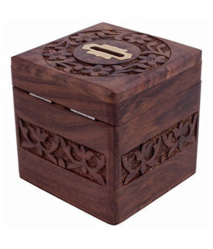ne Münzen Aufbewahrungsbox, Spardose mit Carving Arbeit und Schloss, Sparschwein für Kinder. Geld Aufbewahrungsbox, Braune Farbe 4 X 4 Zoll ()