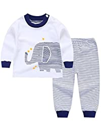 07148283c BOBORA Long Sleeves Girls Boys Baby Children Clothing Suits 2 Piece  Sleepwear