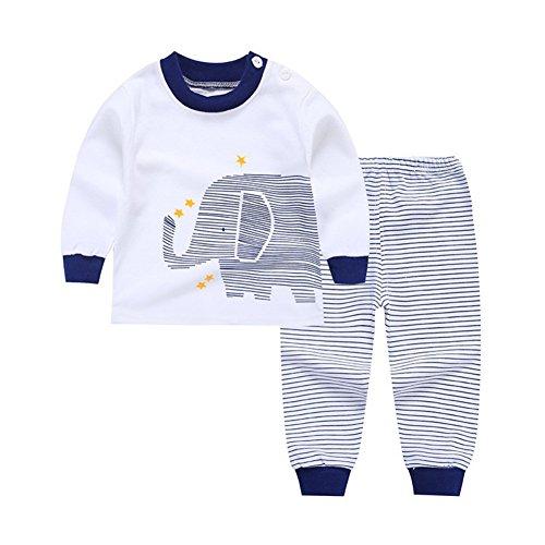 Blaward - Pijamas Enteros - Redondo - Manga Larga - para bebé niña Blanco Elefante 2-3 Años