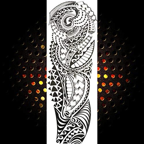 Handaxian 3pcsFull Bras Homme Femelle Autocollant De Tatouage Noir Long Maori Totem Tatouage Body Art Étanche Autocollant De Tatouage 3pcs-6