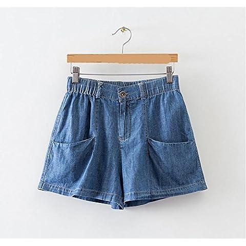Elastico in vita Pocket slim jeans gamba larga Short donna , l , blue