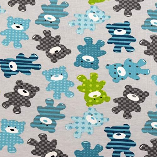 MAGAM-Stoffe Ruby Bärchen Jersey Kinder Stoff Oeko-Tex Meterware Coupon (Stück: 50x165cm in grün) (Jersey Kinder)