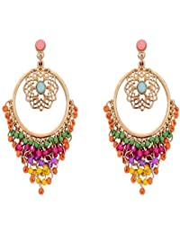 "Chooseberry""Tassel Tales"" Multicolor Hoop Beaded Earrings Chandbali Metal Dangle & Drop For Women & Girls Stylish Party and Casual Wear"