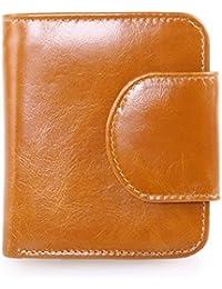 Ainimoer Women'S Small Billfold Genuine Leather Tri-Fold Wallet With Zipper Pocket(Brown)