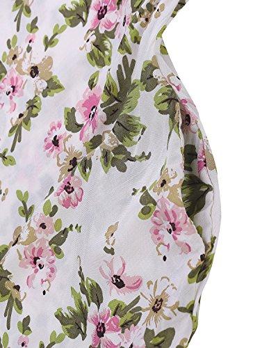ZANZEA Damen Floral Rückenfrei V-Ausschitt Sommer Party Strand Lang Maxi Kleider Weiß4
