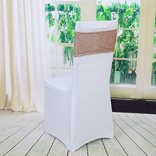 YZEO Stuhlband aus Lycra, elastisch, elastisch, Spandex, mit rundem Ring, für Hochzeit, Bankett, Party, Dekoration, 12/30/60 Stück, Sonstige, Rose Gold Sequin Chair Sashes, 13x35CM Stretch-lycra-ring