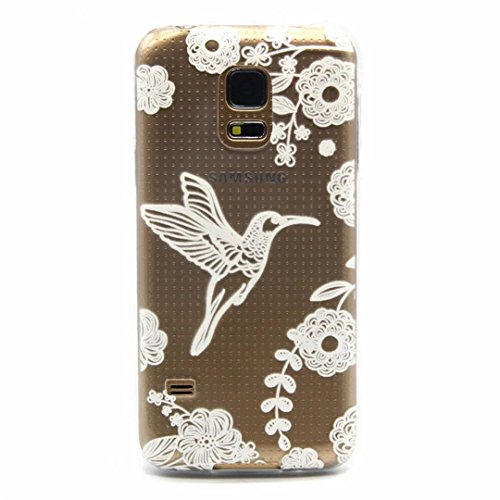 MUTOUREN Samsung Galaxy S5 case cover Shock-Absorption Bumper with Anti-Scratch Clear Back Ultra Slim Super Soft TPU Silicone Gel Back Skin Protective-White Bird and flower