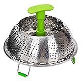 Edelstahl Dampfgarer Dämpfeinsatz zum Gemüse Faltbarer 18-28 cm Dünsteinsatz Dämpfkorb für Kochtöpfe