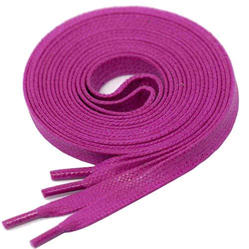 LACCICO Finest Waxed Laces® 6 mm breite flache gewachste Schnürsenkel; Farbe: Magenta , Länge: 120 cm Premium-magenta Rose
