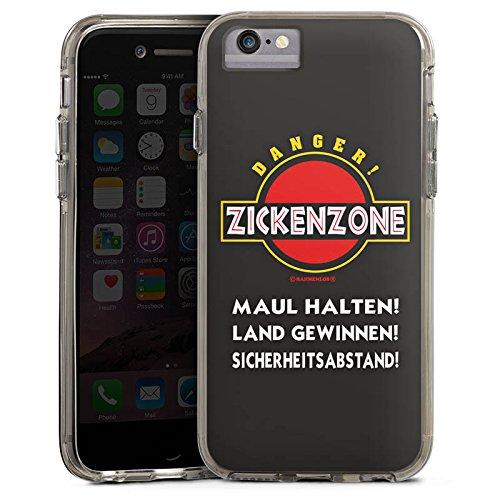 Apple iPhone 6s Bumper Hülle Bumper Case Glitzer Hülle Zickenzone Zicke Bitch Bumper Case transparent grau