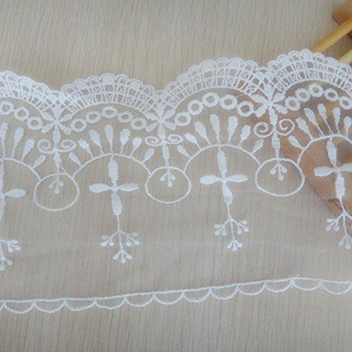 Ivory Elfenbein 12,7cm breit Retro bestickt Mesh Spitzenbesatz Halsband Spitzenband Kleid Craft Spitze von 3Meter