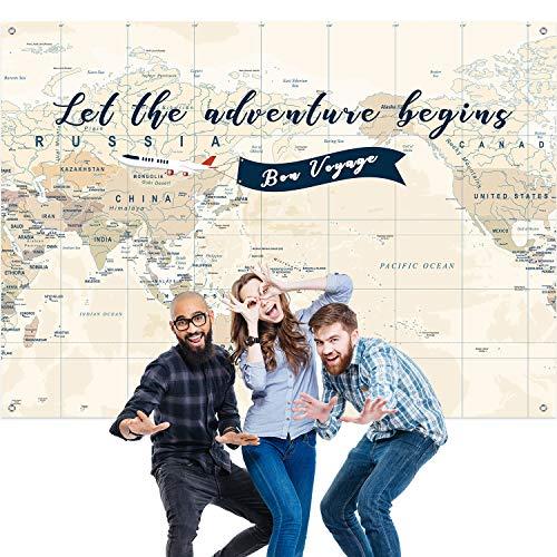 Abenteuer Erwartet Hintergrund Großes Abenteuer Banner Dekoration Lassen Sie das Abenteuer Beginnen Weltkarte Dessert Tisch Hintergrund Fotoautomat Stütze 7 x 5 Fuß