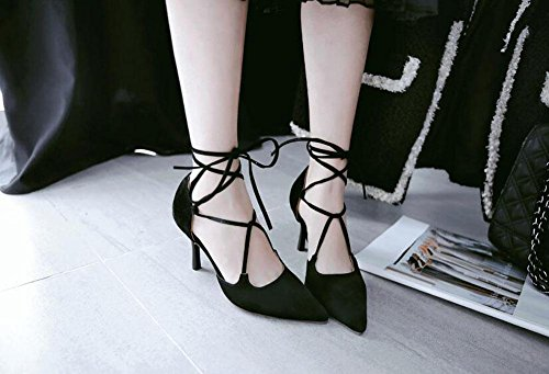 SHINIK Women's Closed-Toe Pumps Knöchelriemen High Heels Sandalen Court Schuhe Black