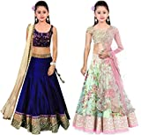 Clickedia Women's Net Lehenga Choli (Kids-(meera navy blue + fogg white pink)_navy blue & pink)
