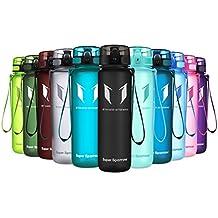 Super Sparrow Botella de agua deportiva - 500ml & 1000ml - Eco amigable y sin plásticos BPA - Flujo de agua rápida, Flip Top, se abre con 1-Click - Reutilizable con tapa a prueba de fugas - Para correr, Gimnasio, Yoga, Aire libre y Camping (Negro, 500ml-17oz)