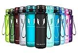 Super Sparrow Trinkflasche - Sports Wasserflasche - 500ml &1000ml - Eco Friendly & BPA-freiem Kunststoff - Ideale Sportflasche - für das Laufen, Fitness, Yoga, Im Freien und Camping - Schnelle Wasserdurchfluss , Flip Top, öffnet sich mit 1-Click - Wiederverwendbare mit dicht schließendem Deckel (Schwarz, 1000ml-32oz)