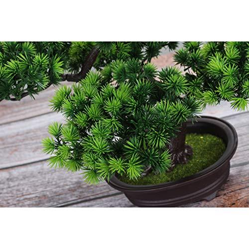 jianbo Kunstpflanze Pflanze,Japanischer Feng Shui Pinien ,Feng Shui Lucky Deko,Kunstbaum ,Höhe ca. 20 cm ,GrüN, #39 - 4