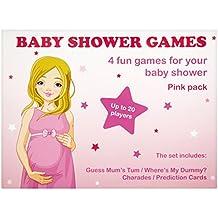 Baby Shower juegos, 4unidades (rosa–20jugadores)