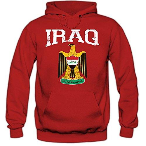 Irak Wappen Hoodie Republik Iraq Saladin-Adler Bagdad Herren-Kapuzenpullover, Farbe:Rot (Red F421);Größe:S