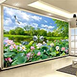 BZDHWWH 3D Wallpaper Wandbild Benutzerdefinierte Wohnzimmer Schlafzimmer Schwan See Lotus Teich Landschaft Wandbild Hintergrund Wand Dekoration,50Cm (H) X 70Cm (W)