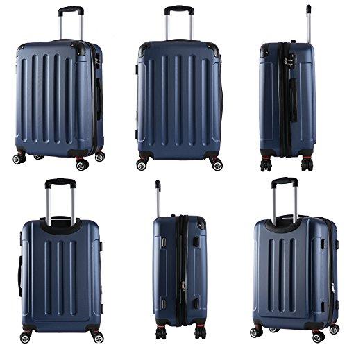 WOLTU RK4201bl, Reise Koffer Trolley Hartschale Volumen erweiterbar, Reisekoffer Hartschalenkoffer 4 Rollen, M/L/XL/Set, leicht und günstig, Blau (M, 55 cm & 42 Liter) - 4