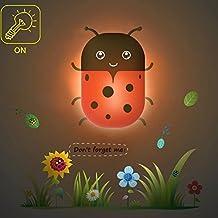LILSN- alegría creativa noche animales duende control de la luz luz de la noche, cabecera del dormitorio de la lámpara de pared ahorro de energía de la abeja ( Color : Small Ladybug )