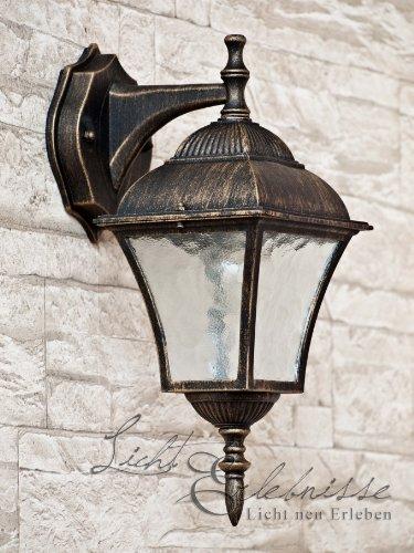 Antike Wand-Außenleuchte IP43 LE 2/1/871 aus Aluguss Außenlampe Wandleuchte Lampe Leuchte (Antik 2-licht Wandleuchte)
