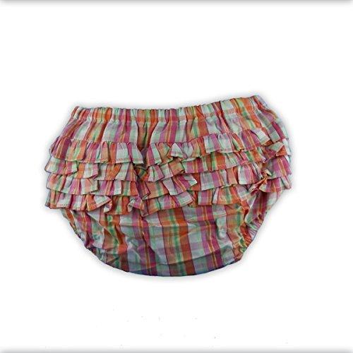 Baby Bloomer - Baby Höschen, Pumphöschen, hinten gerüscht, Orange-Pink-Grün, Boy/Girl, Größe L, 18-24 Monate, 100% Baumwolle