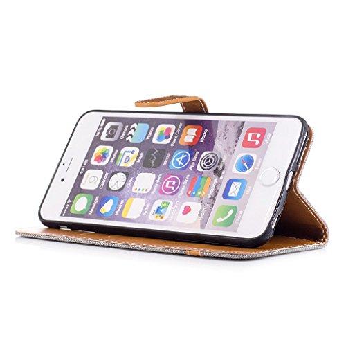 "Apple iPhone 6 Plus / 6S Plus 5.5"" Hülle, SATURCASE Prämie Jeans Stil PU Lederhülle Ledertasche Magnetverschluss Flip Cover Brieftasche Case Handy Tasche Schutzhülle Handyhülle mit Standfunktion Karte Grau"