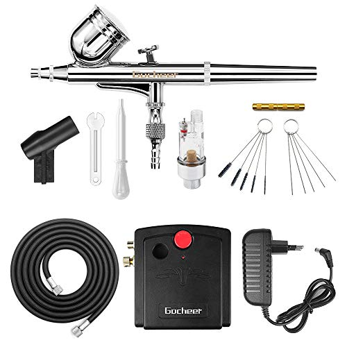 Gocheer 100-250V Profi Gravity Double Action Airbrush Pistole mit Klein Kompressor Leise Kit für Kunst Tattoo Nailart Make up Handwerk Kuchen Spray Modellbau Tool mit Airbrush Reinigung Set