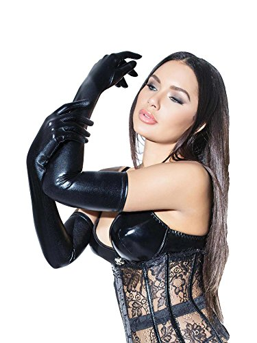 cfc2bcb29d6 Coquette Darque Wet Look Full Length Gloves Black One size