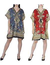 "GirlsNCurls Women Short Kaftan Caftan Polyester Combo Pack of 2 Beach Wrap Kaftan Robe Maxi Gown 36"" Inches"