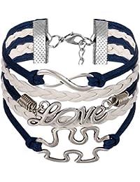 87099c27bae9 JewelryWe Schmuck Freundschaft Armband, Vintage Puzzle Design LOVE Infinity  Unendlichkeit Zeichen Leder Legierung Seil Charm Armreif…