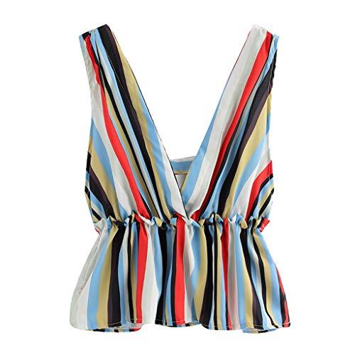 Falten Gestreifte Weste (Amlaiworld ❤ Damen-Shirt mit V-Ausschnitt, Damen-Mode-Bunte gestreifte Oberseite Sommer-Falten-Weste ärmelloses beiläufiges Trägershirts-T-Shirt(Blau,XL))