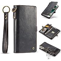 """iPhone 7 Plus Hülle und Brieftasche,HYYGEDeal herausnehmbare Schutzhülle Flip Fold Wallet ID Kartenhalter Leder Case für Apple iphone 7 Plus 5.5"""" (schwarz)"""