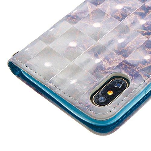 Custodia 3D Modello Per iPhone X, Asnlove Bling PU Pelle Caso Funzione Portafoglio Shell Stereogram Motif di Colore Cassa Antiurto Flip Case Bumper Glitter Brillante Cover Per iPhone X - Colore 7 Colore-4