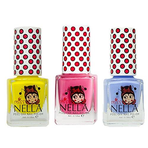 Miss Nella Schaukel rosa A Boo, blau Bell, Sun Kissed spezielle Glitzer Kinder Nagellack mit Peel Off auf Wasserbasis Formel -