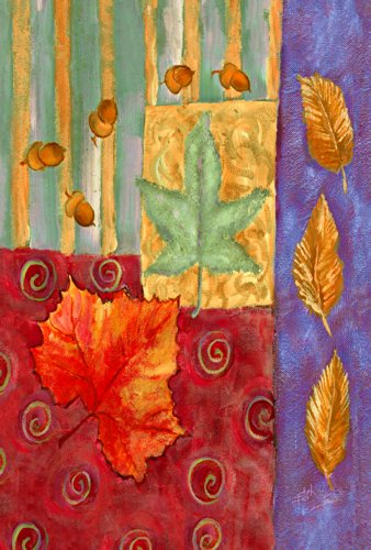 Toland Home Garden splendid leaves Garden Flag 119665, tessuto, Purple/Red/Brown/Green, (Autumn Leaves Tessuto)