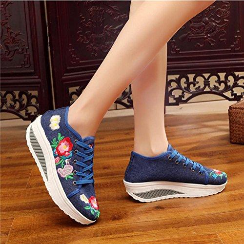 Pattini della piattaforma delle donne / delle signore cuscino d'aria della tela di canapa di estate Scarpe alte moda d'epoca traspirante e leggera Blue