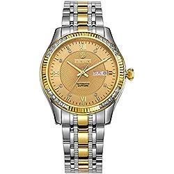 binlun Herren 2Ton Silber und Gold Edelstahl casual ArmbandUhren mit Gelb Big Kristall Saphir Face