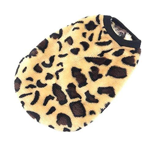 LLZZSS Hundebekleidung Herbst- und Winterkleidung Plus Samtweste Teddy Bago Welpenhundetarnweste S Code Leopardenmuster - Samtweste