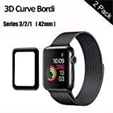 GeekerChip Vetro Temperato Apple Watch 42mm Serie 1/Serie 2/Serie 3 Pellicola Protettiva[2 Pack] Full Coverage Pellicola Protettiva per Apple Watch 42mm [3D Tempered Glass][Scratch Resistance][Nero]