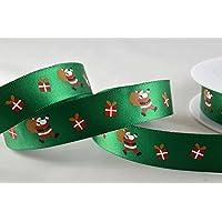 Verde poliestere raso con design Babbo Natale 15mm x 20m