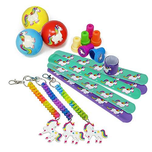 COM-FOUR 18-teiliges Mitgebsel Set mit Einhorn Motiven für Kindergeburtstage bestehend aus Bällen,...